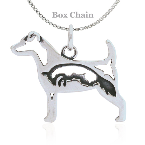 Sterling Silver Jack Russell Terrier Body With Fox Necklace