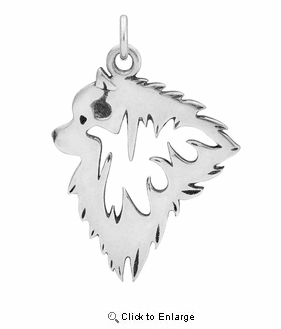 Sterling Silver Keeshond Head Necklace