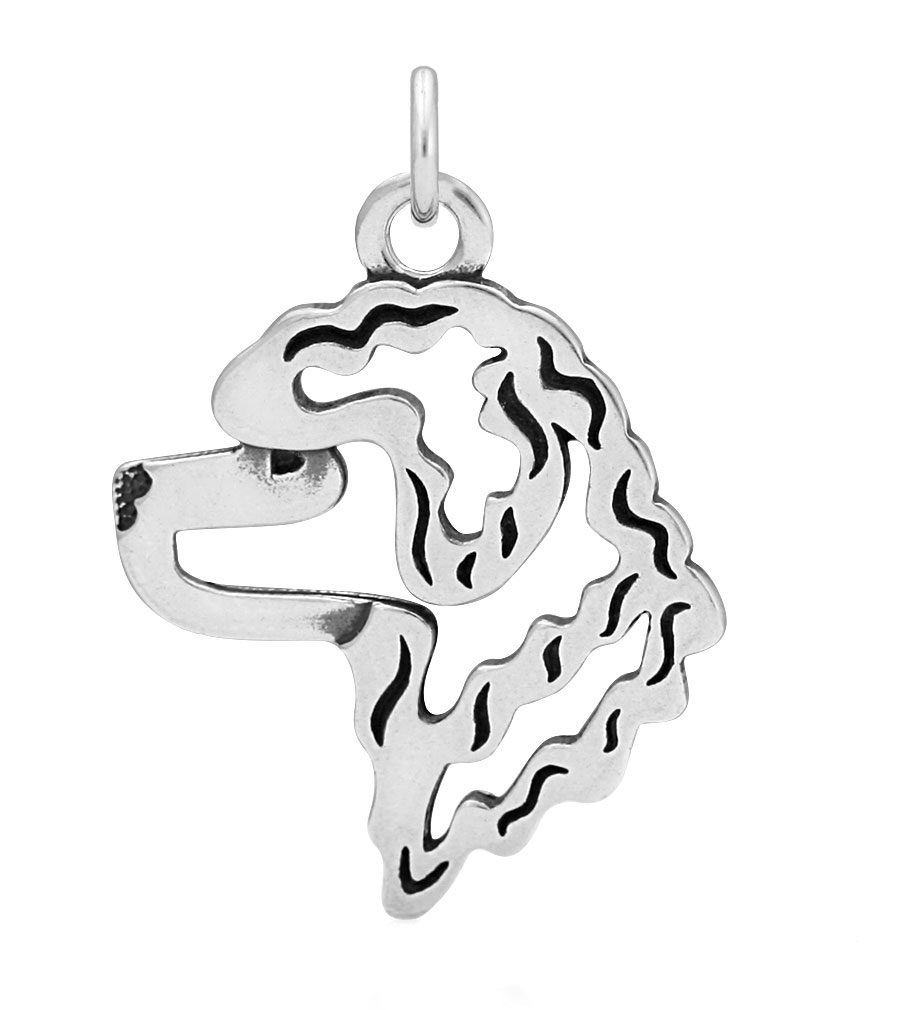 Sterling Silver Portuguese Water Dog Head Necklace