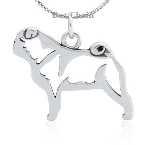 Sterling Silver Pug Body Necklace