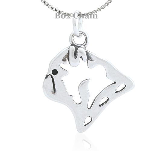Sterling Silver Pug Head Necklace