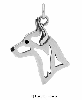Sterling Silver Rat Terrier Head Necklace