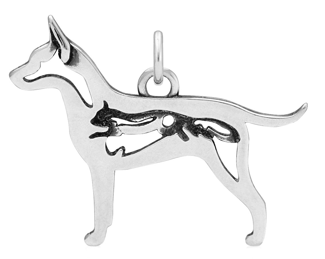 Sterling Silver Rat Terrier W/Squirrel Body Necklace
