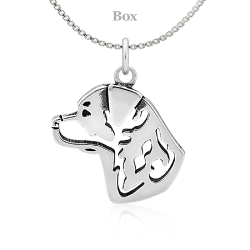 Sterling Silver Rottweiler Head Necklace