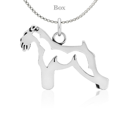 Sterling Silver Schnauzer Natural Ears Body Necklace