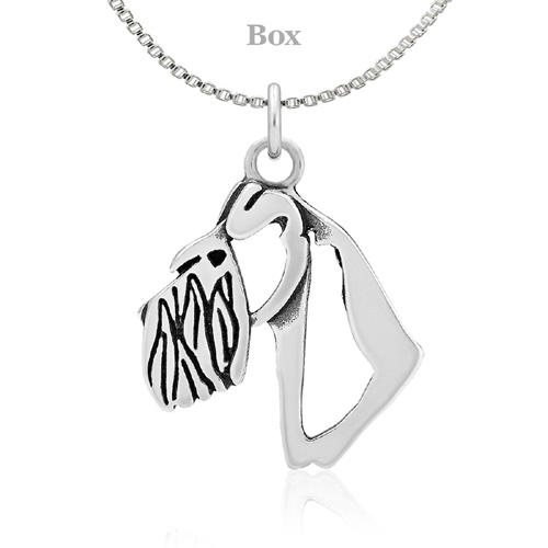 Sterling Silver Schnauzer Natural Ears Head Necklace