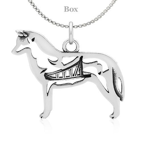 Sterling Silver Siberian Husky W/Sled Necklace