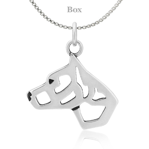 Sterling Silver Staffordshire Bull Terrier Cropped Ears Necklace