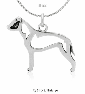 Sterling Silver Staffordshire Bull Terrier Natural Ears Body Necklace