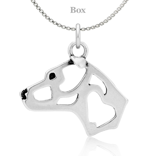 Sterling Silver Staffordshire Bull Terrier Natural Ears Necklace