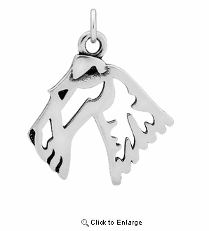 Sterling Silver Wire Fox Terrier Head Necklace