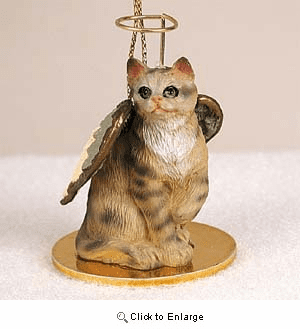 Tabby Cat Angel Ornament Brown Shorthaired