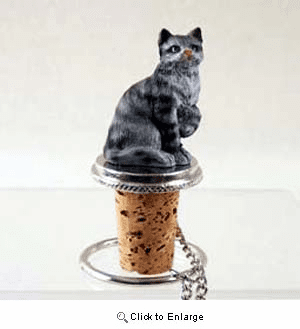 Tabby Cat Bottle Stopper (Silver)