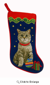 Tabby Cat Christmas Stocking