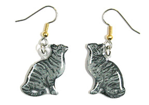 Tabby Cat Earrings Silver Hand Painted Acrylic