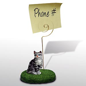 Tabby Cat Note Holder (Silver)