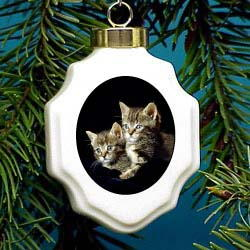 Tabby Christmas Ornament Porcelain