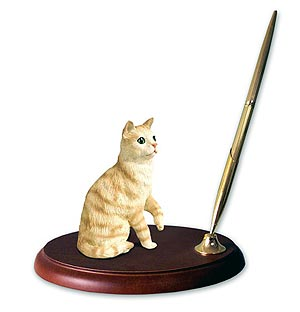 Tabby Cat Pen Holder (Red)