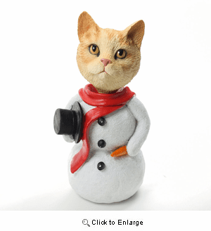 Tabby Cat Red Snowman Christmas Decoration