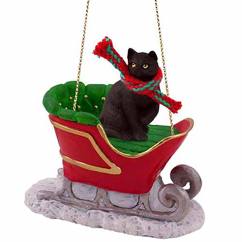 Tabby Cat Sleigh Ride Christmas Ornament Black Shorthaired