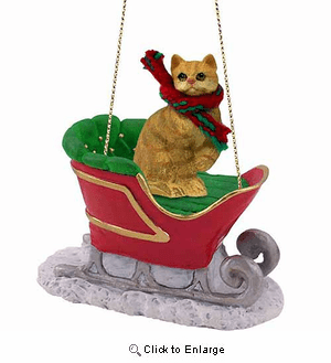 Tabby Cat Sleigh Ride Christmas Ornament Red Shorthaired