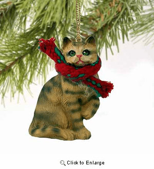 Tabby Cat Tiny One Christmas Ornament Brown Shorthaired