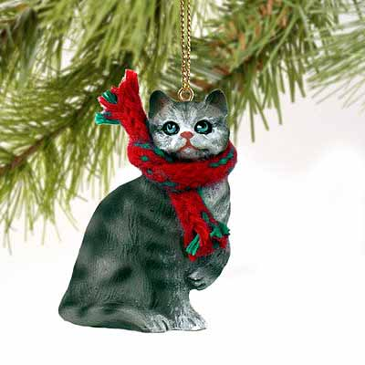 Tabby Cat Tiny One Christmas Ornament Silver Shorthaired