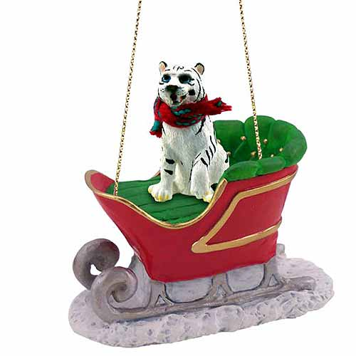 Tiger Sleigh Ride Christmas Ornament White