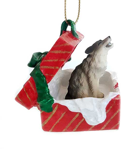 Timber Wolf Gift Box Red Christmas Ornament