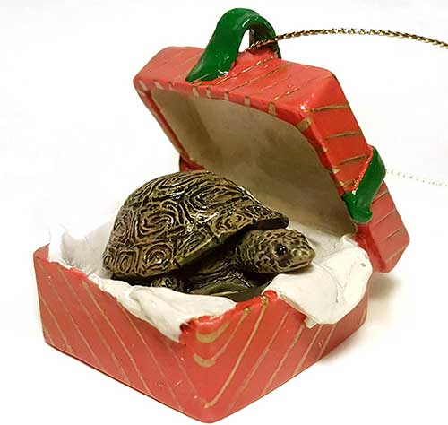 Turtle Gift Box Red Christmas Ornament