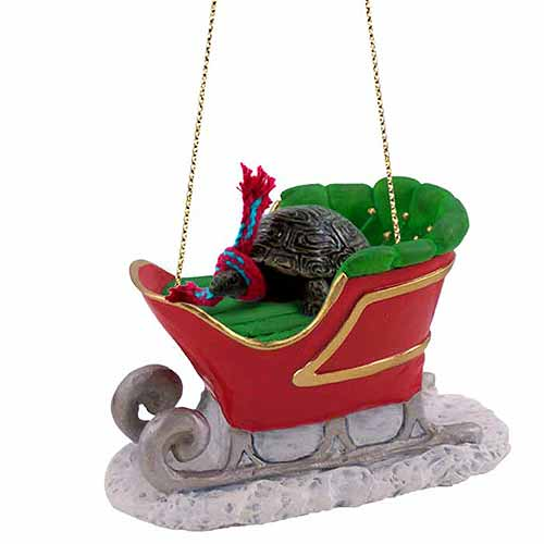 Turtle Sleigh Ride Christmas Ornament