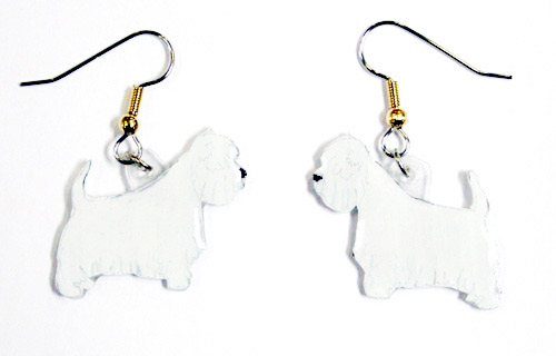 West Highland Terrier Earrings Hand Painted Acrylic