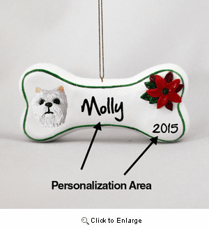West Highland Terrier Personalized Dog Bone Christmas Ornament