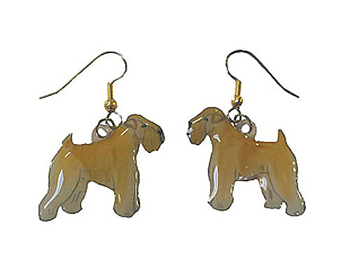 Wheaten Terrier Earrings Hand Painted Acrylic