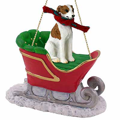 Whippet Sleigh Ride Christmas Ornament Brindle-White