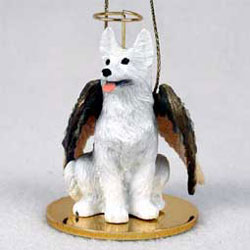 White German Shepherd Christmas Ornament Angel