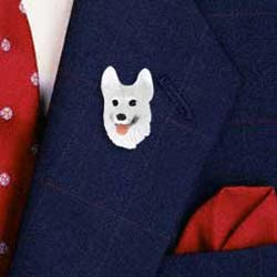 White German Shepherd Pin Hand Painted Resin