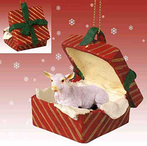 White Goat Gift Box Red Christmas Ornament