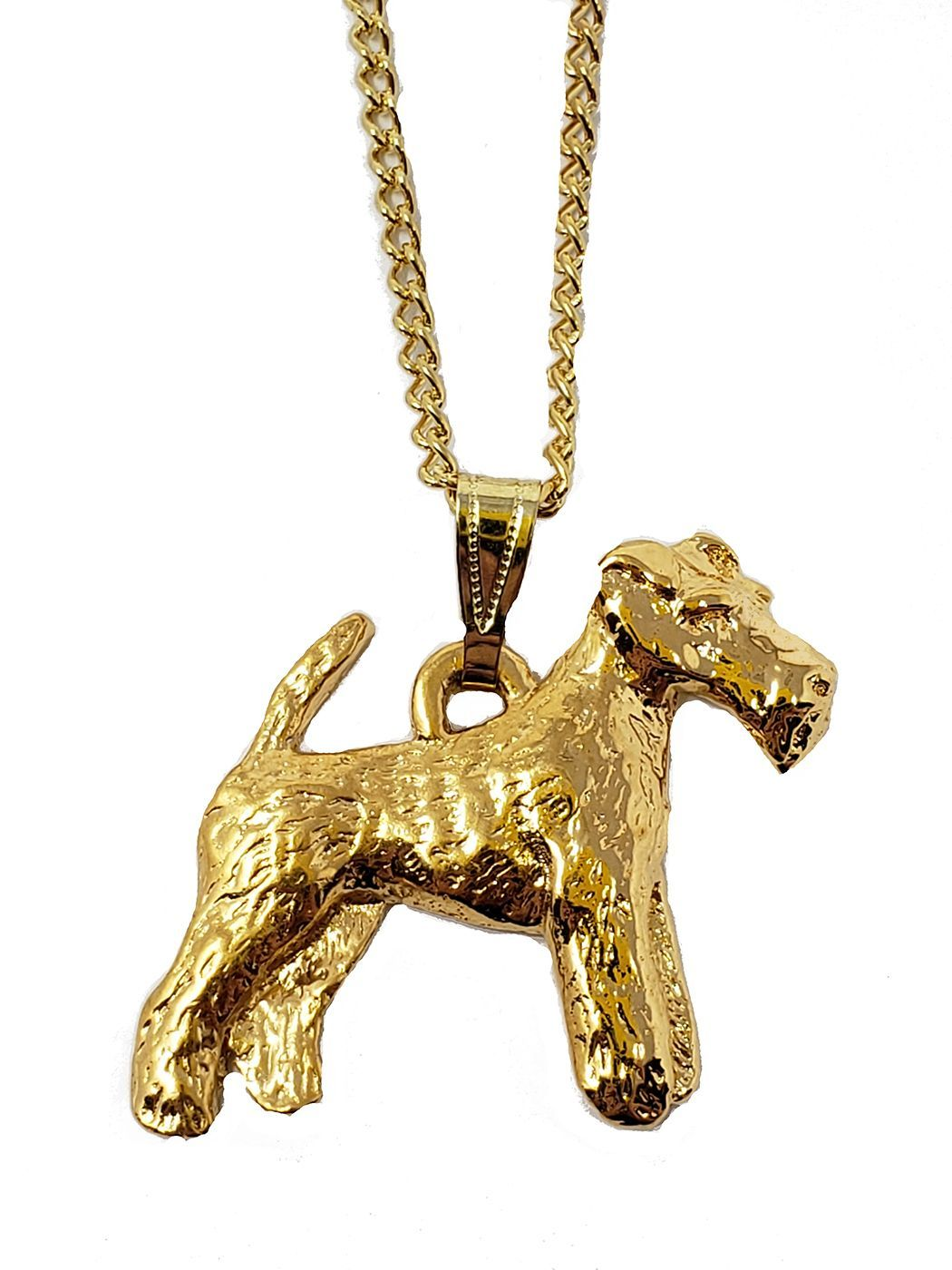 Wire Fox Terrier 24K Gold Plated Pendant with Necklace