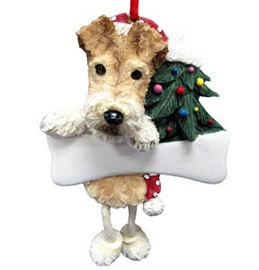 Wire Fox Terrier Christmas Tree Ornament - Personalize