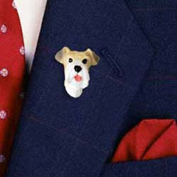 Wire Fox Terrier Pin Hand Painted Resin