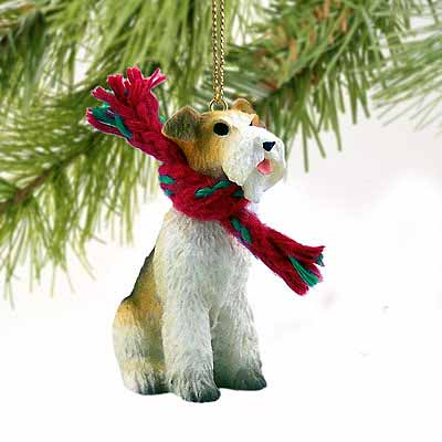 Wire Fox Terrier Tiny One Christmas Ornament Red