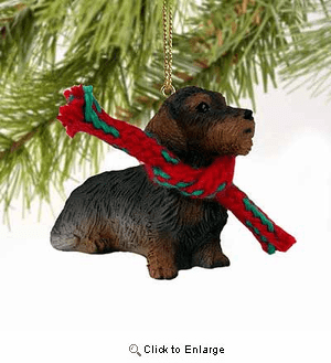 Wire Haired Dachshund Tiny One Christmas Ornament Red