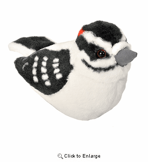 "Audubon II Downy Woodpecker Stuffed Animal - 5"" with Authentic Bird Sound"