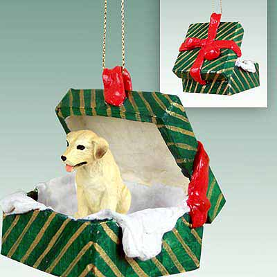 Yellow Lab Gift Box Christmas Ornament
