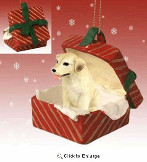 Yellow Lab Gift Box Red Christmas Ornament