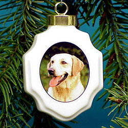 Yellow Labrador Retriever Christmas Ornament Porcelain