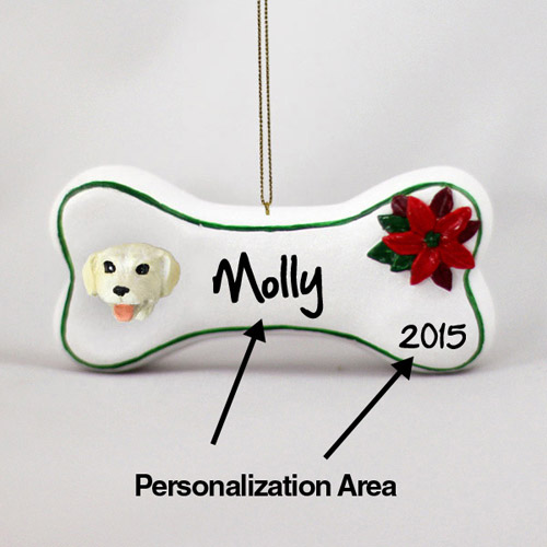 Yellow Lab Personalized Dog Bone Christmas Ornament