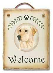 Yellow Lab Slate Welcome Sign