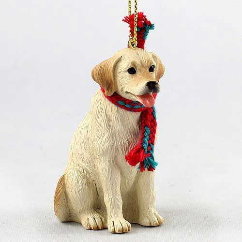 Yellow Lab with Scarf Christmas Ornament Large Version